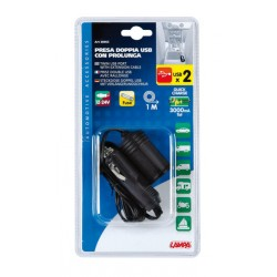 PRISE DOUBLE USB AVEC RALLONGE 12/24 V