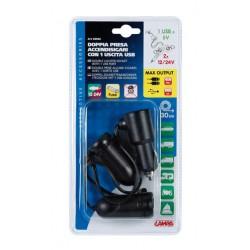 DOUBLE PRISE ALLUME CIGARE AVEC 1 SORTIE USB, 12/24 V