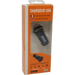 CHARGEUR AC NOIR 2500MA 2 SORTIES USB TEC
