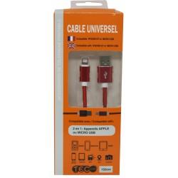 CABLE POUR IPHONE 6/7 ET MICRO USB 150CM TEC