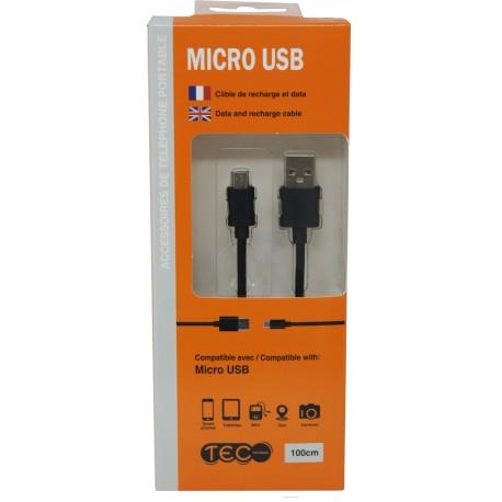 CABLE MICRO USB NOIR 1M TEC