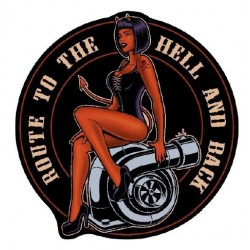 STICKER 3D PM PIN-UP BORN TO THE HELL AND BACK