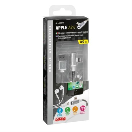 CABLE USB 90°  ADAPTATEUR ECOUTEUR APPLE 8 PIN 100CM