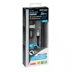 CHARGEUR MICRO USB + PORT USB SUPPLEMENTAIRE, 12/24 V, 2400 mA